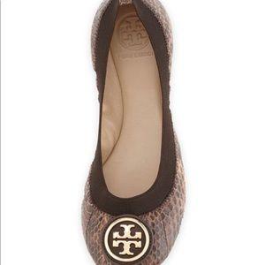 Tory Burch Caroline Snakeskin Flats Summer Sandal